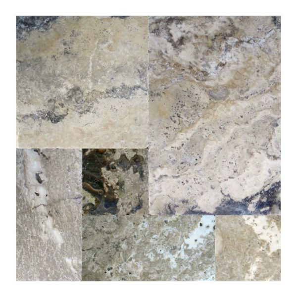 Philadelphia Travertine Paver Versailles Pattern Tumbled 2 Tan Brown Gray White Outdoor Floor Wall Pool Patio Backyard Tub Shower Vanity