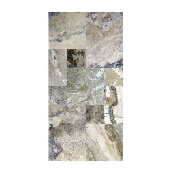 Philadelphia Travertine Paver Versailles Pattern Tumbled 3 Tan Brown Gray White Outdoor Floor Wall Pool Patio Backyard Tub Shower Vanity