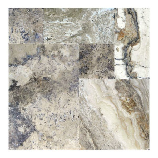 Philadelphia Travertine Paver Versailles Pattern Tumbled 4 Tan Brown Gray White Outdoor Floor Wall Pool Patio Backyard Tub Shower Vanity