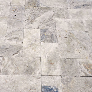 Philadelphia Travertine Paver Versailles Pattern Tumbled 5 Tan Brown Gray White Outdoor Floor Wall Pool Patio Backyard Tub Shower Vanity