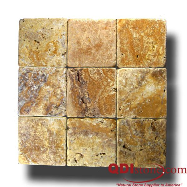 QDI Gold Travertine Tile 4x4 Tumbled Beige Cream Tan Brown Yellow Gold Gray White Indoor Floor Wall Backsplash Countertop Tub Shower Vanity QDI