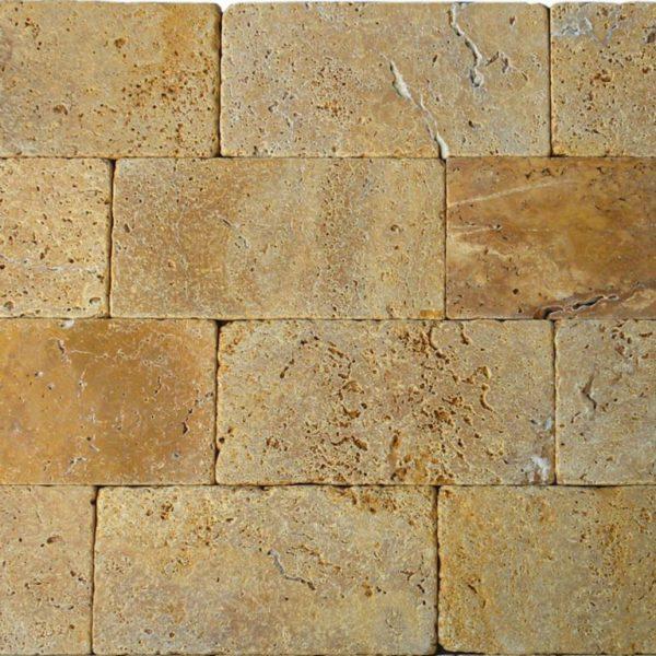 QDI Gold Travertine Tile 6x12 Tumbled Beige Cream Tan Brown Yellow Gold Gray White Indoor Floor Wall Backsplash Countertop Tub Shower Vanity