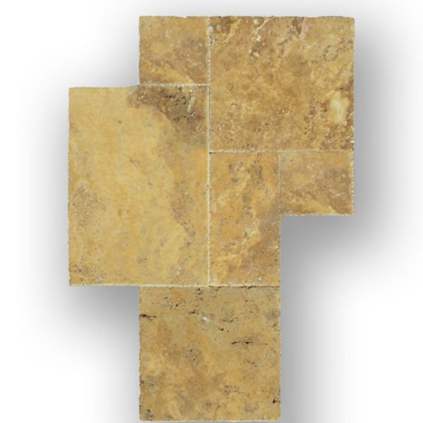 QDI Gold Travertine Tile Versailles Pattern Brushed Chiseled Beige Cream Tan Brown Yellow Gold Gray White Indoor Floor Wall Backsplash Counter