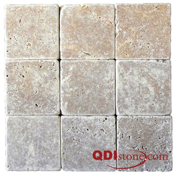 QDI Noce Travertine Tile 4x4 Tumbled Beige Cream Tan Brown Gray White Indoor Floor Wall Backsplash Countertop Tub Shower Vanity QDIsurfaces