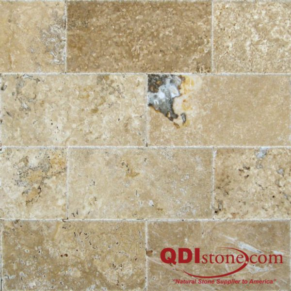 QDI Noce Travertine Tile 8x16 Unfilled Brushed Chiseled Edge Beige Cream Tan Brown Gray White Floor Wall Backsplash Counter Tub Shower Vanity