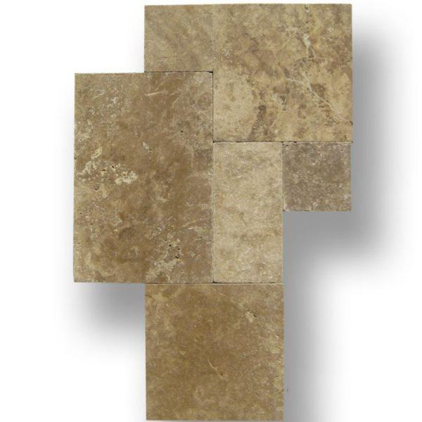 QDI Noce Travertine Tile Versailles Pattern Tumbled Beige Cream Tan Brown Gray White Indoor Floor Wall Backsplash Countertop Tub Shower Vanity