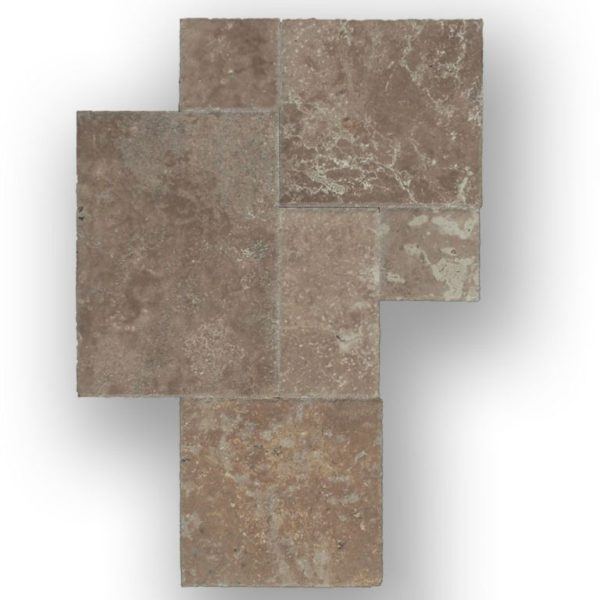 QDI Noce Travertine Tile Versailles Pattern Unfilled Brushed Chiseled Edge Beige Cream Tan Brown Gray White Floor Wall Backsplash Counter Tub