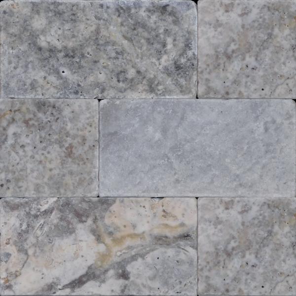 QDI Silver 3x6 Tumbled Travertine Mosaic Tile