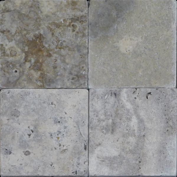 QDI Silver 4x4 Tumbled Travertine Mosaic Tile