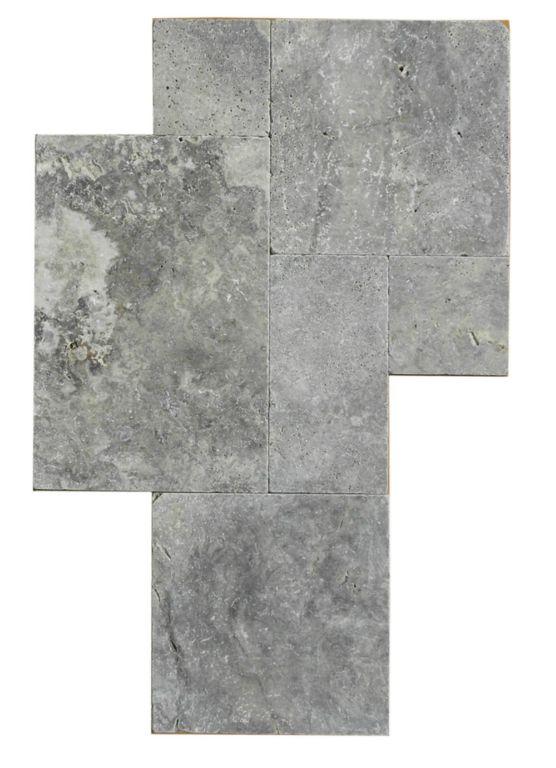 QDI Silver Travertine Tile Versailles Pattern Tumbled Beige Cream Gray White Indoor Floor Wall Backsplash Counter Tub Shower Vanity QDI