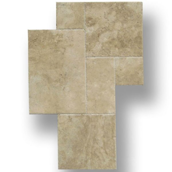 QDI Walnut Travertine Tile Versailles Pattern Brushed Chiseled Tan Brown Beige Gray White Floor Wall Backsplash Counter Tub Shower Vanity