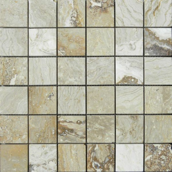 Riviera Travertine Mosaic Tile 2x2 Honed Tan Brown Beige Cream Gray White Indoor Floor Wall Backsplash Countertop Tub Shower Vanity QDI