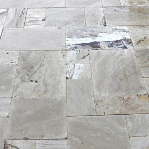 Riviera Travertine Paver Versailles Pattern Tumbled 2 Tan Brown Beige Cream White Gray Outdoor Floor Wall Pool Patio Backyard Tub Shower Vanity