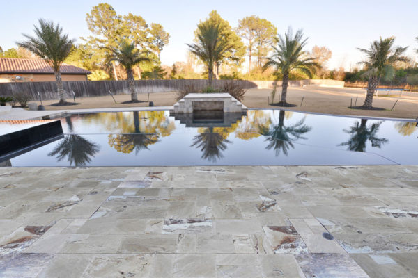 Riviera Travertine Paver Versailles Pattern Tumbled 3 Tan Brown Beige Cream White Gray Outdoor Floor Wall Pool Patio Backyard Tub Shower Vanity