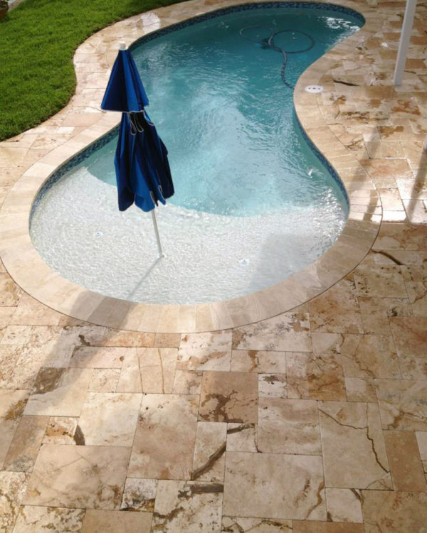 Riviera Travertine Paver Versailles Pattern Tumbled 7 Tan Brown Beige Cream White Gray Outdoor Floor Wall Pool Patio Backyard Tub Shower Vanity