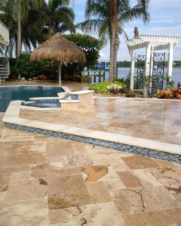 Riviera Travertine Paver Versailles Pattern Tumbled 8 Tan Brown Beige Cream White Gray Outdoor Floor Wall Pool Patio Backyard Tub Shower Vanity