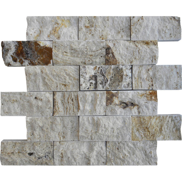 Riviera Travertine Split Face Tile 2x4 Tan Brown Beige Cream Gray White Indoor Outdoor Wall Backsplash Tub Shower Vanity QDIsurfaces