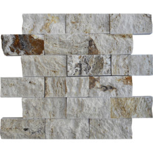 Riviera Travertine Split Face Tile Tan Brown Beige Cream Gray White Indoor Outdoor Wall Backsplash Tub Shower Vanity QDIsurfaces