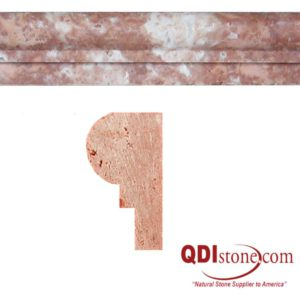 Rojo Marble Trim Tile Single Ogee Honed Red Pink Indoor Floor Wall Backsplash Tub Shower Vanity QDIsurfaces