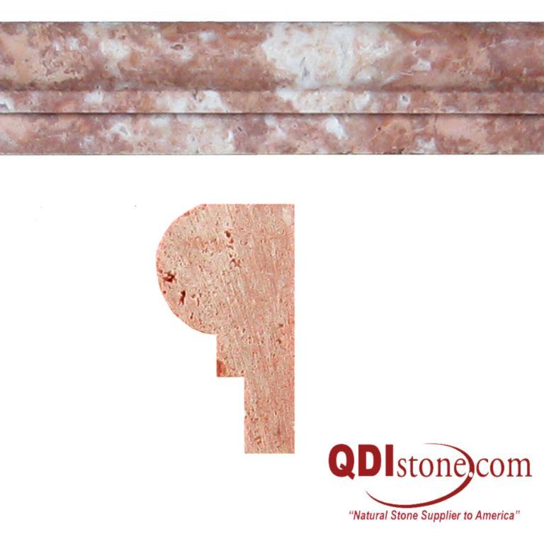 Rojo Marble Trim Tile Single Ogee Honed Red Pink Indoor Floor Wall Backsplash Tub Shower Vanity QDIsurfaces