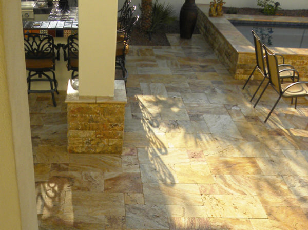 Sedona Fantastico Travertine Paver Versailles Pattern Tumbled 10 Tan Brown Beige Cream Red Pink White Gray Outdoor Floor Wall Pool