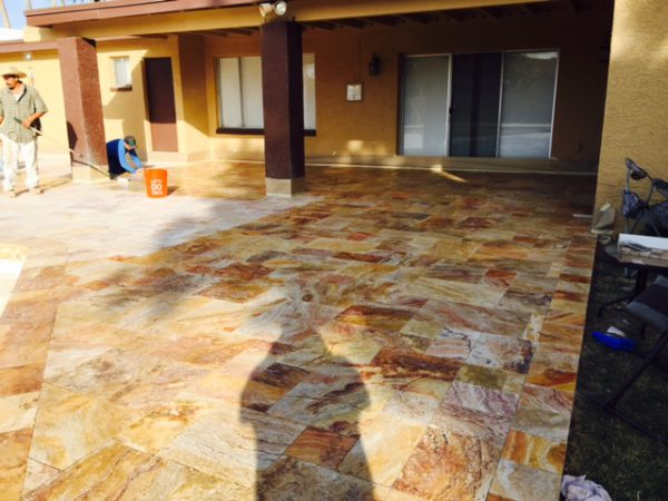 Sedona Fantastico Travertine Paver Versailles Pattern Tumbled 11 Tan Brown Beige Cream Red Pink White Gray Outdoor Floor Wall Pool