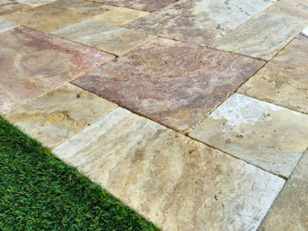 Sedona Fantastico Travertine Paver Versailles Pattern Tumbled 14 Tan Brown Beige Cream Red Pink White Gray Outdoor Floor Wall Pool