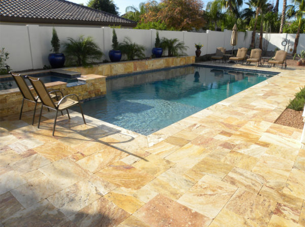 Sedona Fantastico Travertine Paver Versailles Pattern Tumbled 15 Tan Brown Beige Cream Red Pink White Gray Outdoor Floor Wall Pool