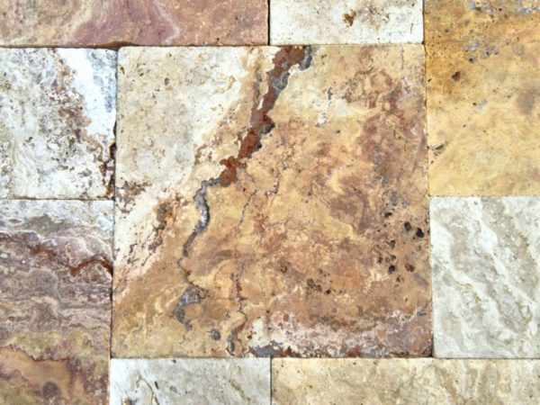 Sedona Fantastico Travertine Paver Versailles Pattern Tumbled 18 Tan Brown Beige Cream Red Pink White Gray Outdoor Floor Backyard