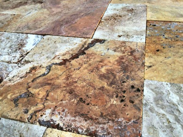 Sedona Fantastico Travertine Paver Versailles Pattern Tumbled 19 Tan Brown Beige Cream Red Pink White GrayOutdoor Floor Wall Pool