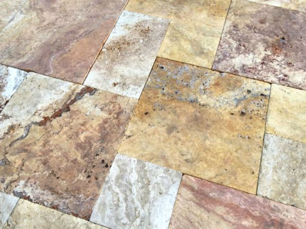 Sedona Fantastico Travertine Paver Versailles Pattern Tumbled 20 Tan Brown Beige Cream Red Pink White Gray Outdoor Floor Wall Patio