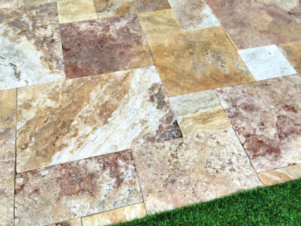 Sedona Fantastico Travertine Paver Versailles Pattern Tumbled 21 Tan Brown Beige Cream Red Pink White Gray Outdoor Floor Wall Patio
