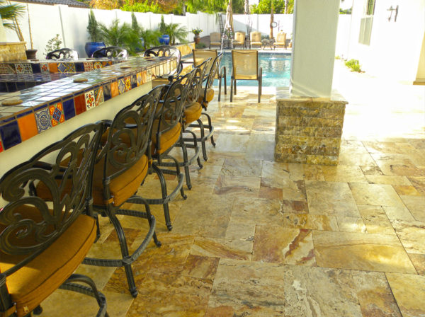 Sedona Fantastico Travertine Paver Versailles Pattern Tumbled 25 Tan Brown Beige Cream Red Pink White Gray Outdoor Floor Wall Patio