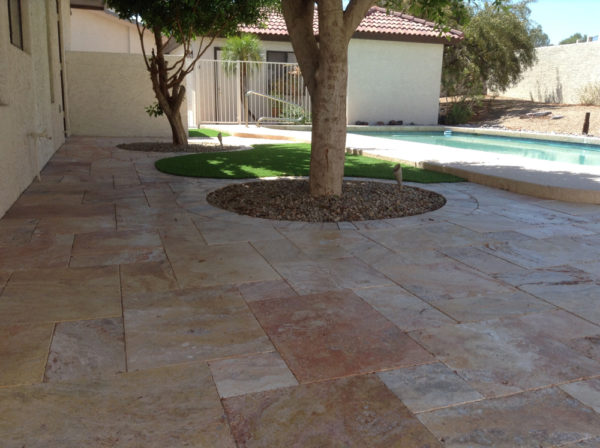 Sedona Fantastico Travertine Paver Versailles Pattern Tumbled 28 Tan Brown Beige Cream Red Pink White Gray Outdoor Floor Wall Patio