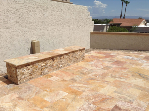 Sedona Fantastico Travertine Paver Versailles Pattern Tumbled 31 Tan Brown Beige Cream Red Pink White Gray Outdoor Floor Wall Patio