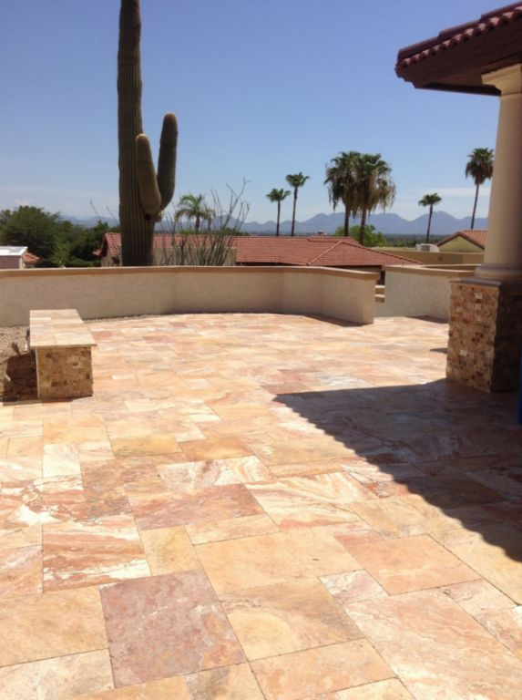 Sedona Fantastico Travertine Paver Versailles Pattern Tumbled 32 Tan Brown Beige Cream Red Pink White Gray Outdoor Floor Wall Patio
