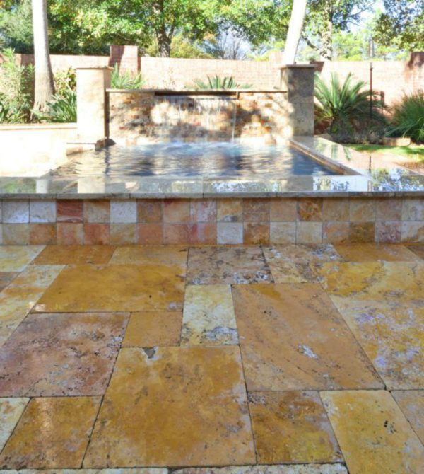 Sedona Fantastico Travertine Paver Versailles Pattern Tumbled 42 Tan Brown Beige Cream Red Pink White Gray Outdoor Floor Wall Pool