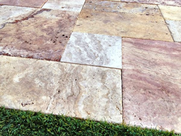 Sedona Fantastico Travertine Paver Versailles Pattern Tumbled 6 Tan Brown Beige Cream Red Pink White Gray Outdoor Floor Wall Pool