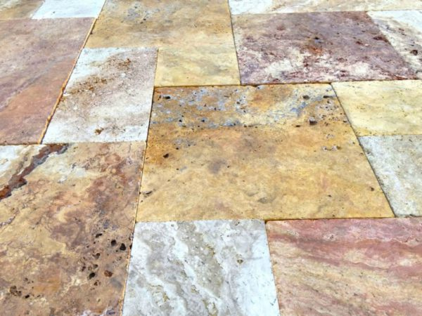 Sedona Fantastico Travertine Paver Versailles Pattern Tumbled 8 Tan Brown Beige Cream Red Pink White Gray Outdoor Floor Wall Pool