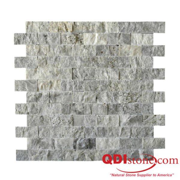 Silver Travertine Mosaic Tile 1x2 Split Face Beige Cream Gray White Indoor Floor Wall Backsplash Countertop Tub Shower Vanity QDIsurfaces