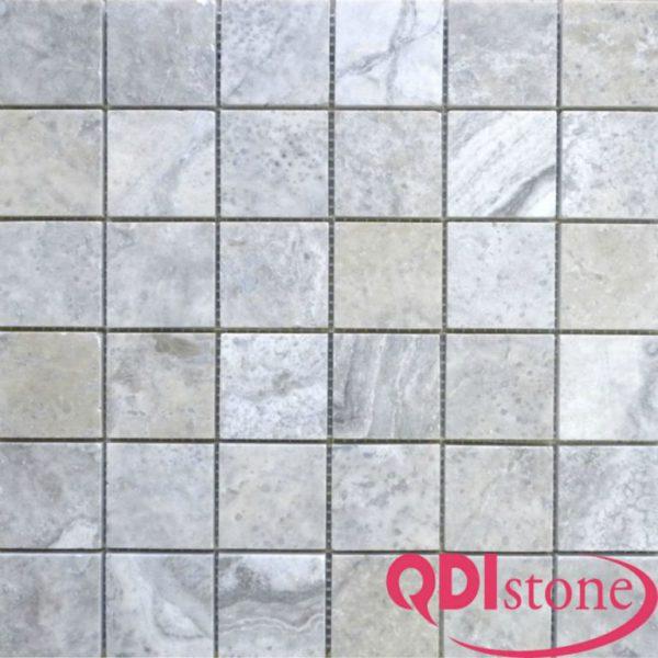 Silver Travertine Mosaic Tile 2x2 Honed Beige Cream Gray White Indoor Floor Wall Backsplash Countertop Tub Shower Vanity QDIsurfaces