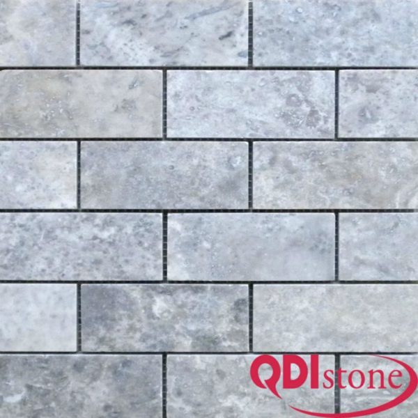 Silver Travertine Mosaic Tile 2x4 Honed Beige Cream Gray White Indoor Floor Wall Backsplash Countertop Tub Shower Vanity QDIsurfaces