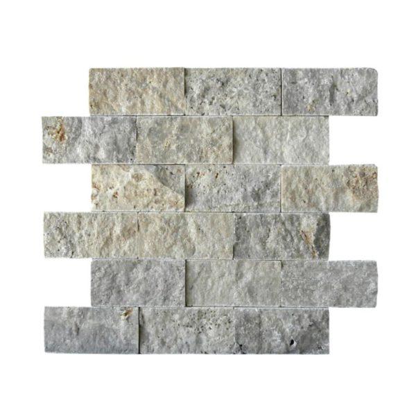 Silver Travertine Mosaic Tile 2x4 Split Face Beige Cream Gray White Indoor Floor Wall Backsplash Countertop Tub Shower Vanity QDIsurfaces