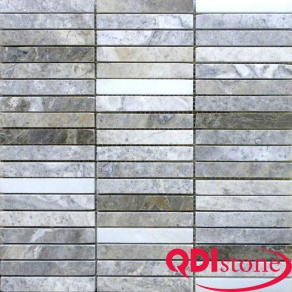 Silver Travertine Mosaic Tile 5 8x4 Polished Beige Cream Gray White Indoor Floor Wall Backsplash Countertop Tub Shower Vanity QDIsurfaces