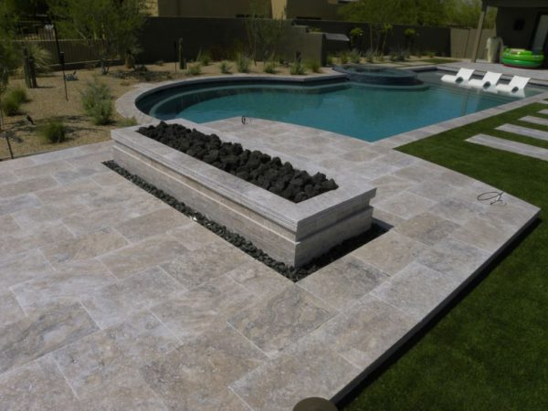 Silver Travertine Paver 16x24 Tumbled 10 Gray White Outdoor Floor Wall Pool Patio Backyard Tub Shower Vanity QDIsurfaces