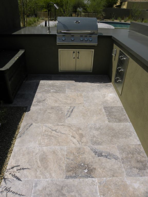 Silver Travertine Paver 16x24 Tumbled 11 Gray White Outdoor Floor Wall Pool Patio Backyard Tub Shower Vanity QDIsurfaces