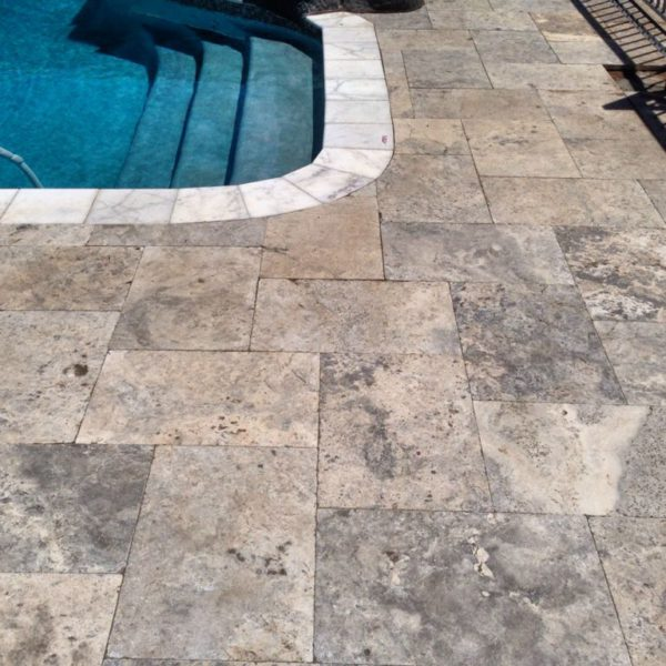 Silver Travertine Paver 16x24 Tumbled 15 Gray White Outdoor Floor Wall Pool Patio Backyard Tub Shower Vanity QDIsurfaces