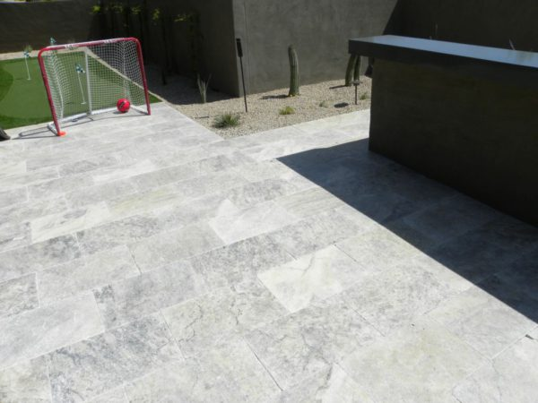 Silver Travertine Paver 16x24 Tumbled Gray White Outdoor Floor Wall Pool Patio Backyard Tub Shower Vanity QDIsurfaces