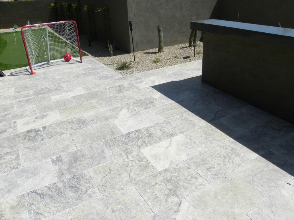 Silver Travertine Paver 16x24 Tumbled Gray White Outdoor Floor Wall Pool  Patio Backyard Tub Shower Vanity