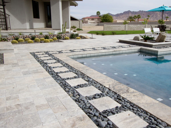 Silver Travertine Paver Roman Pattern Tumbled 5 Gray White Outdoor Floor Wall Pool Patio Backyard Tub Shower Vanity QDIsurfaces